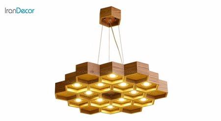 لوستر مدرن چوبی دوازده  شعله آرتا طرح کندو مدل ۴۹۲