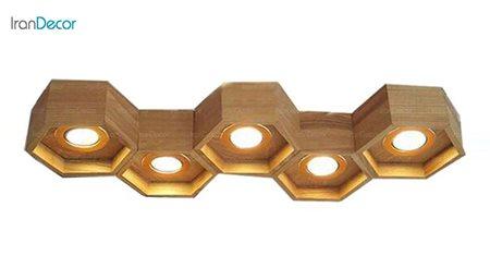 لوستر مدرن چوبی پنج شعله آرتا طرح کندو مدل 491/5