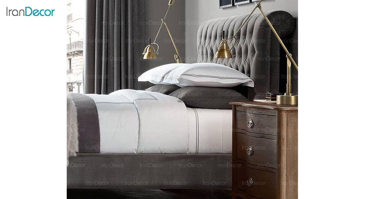 تخت خواب کلاسیک دو نفره تولیکا مدل لاریسا قهوه ای