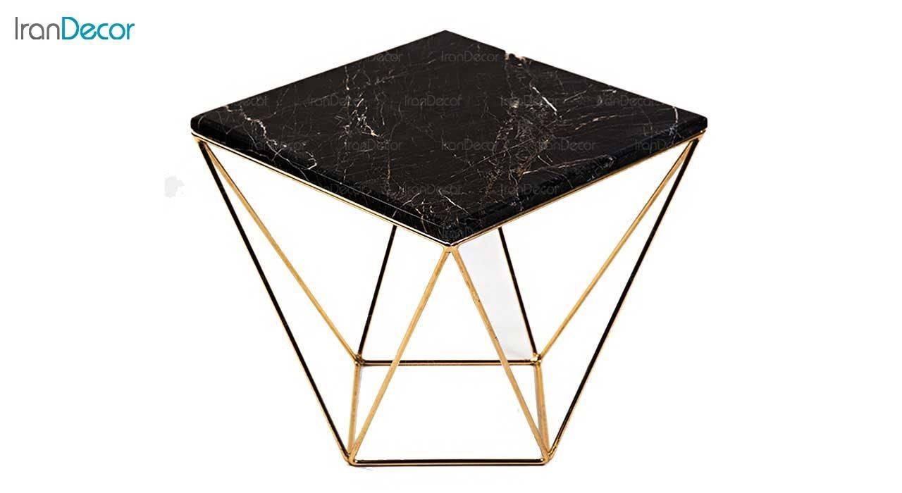 میز عسلی سنگی مربع مشکی مدل S4546