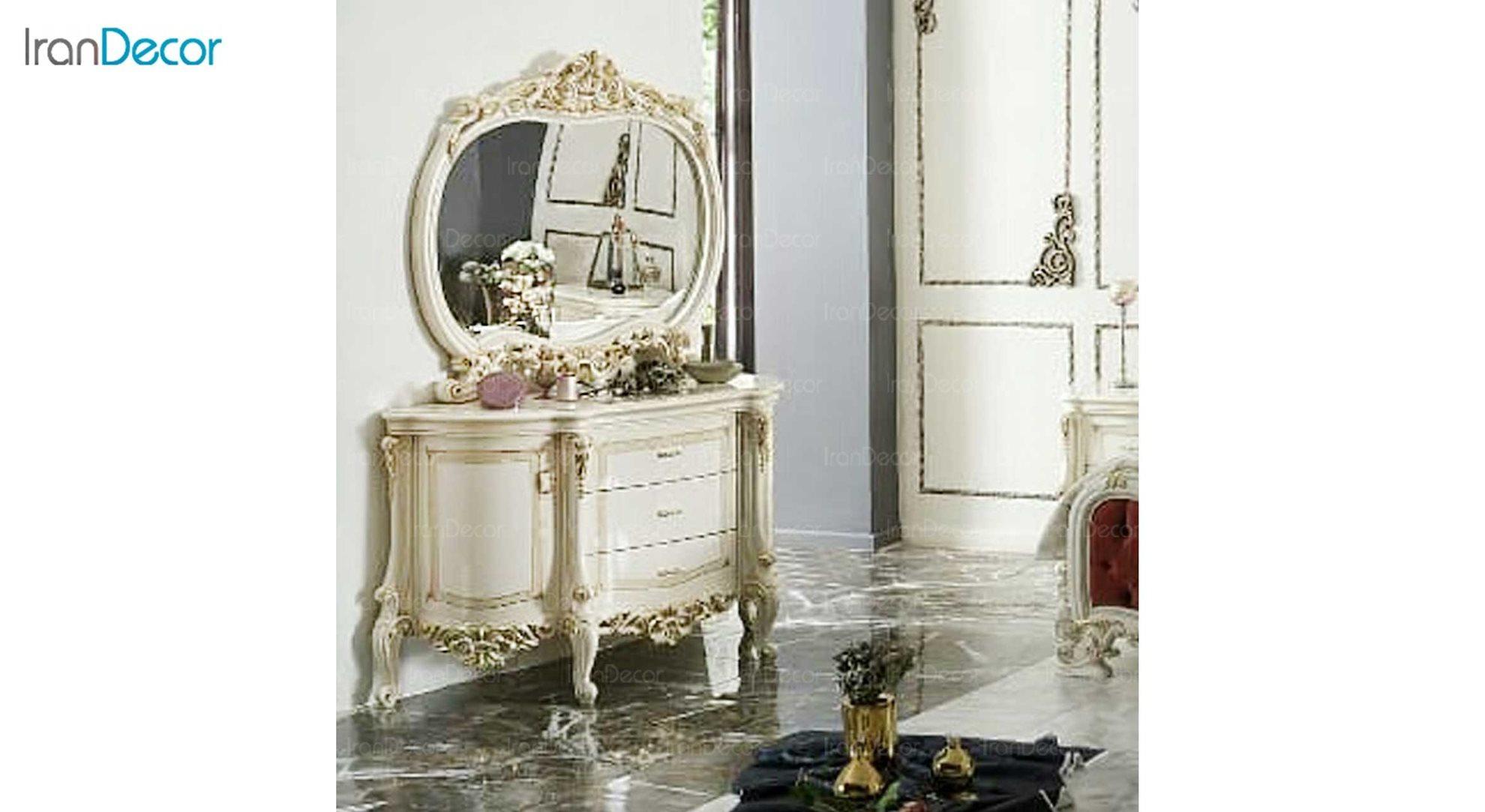 میز و آینه آرایش کلاسیک دارون مدل چراغان