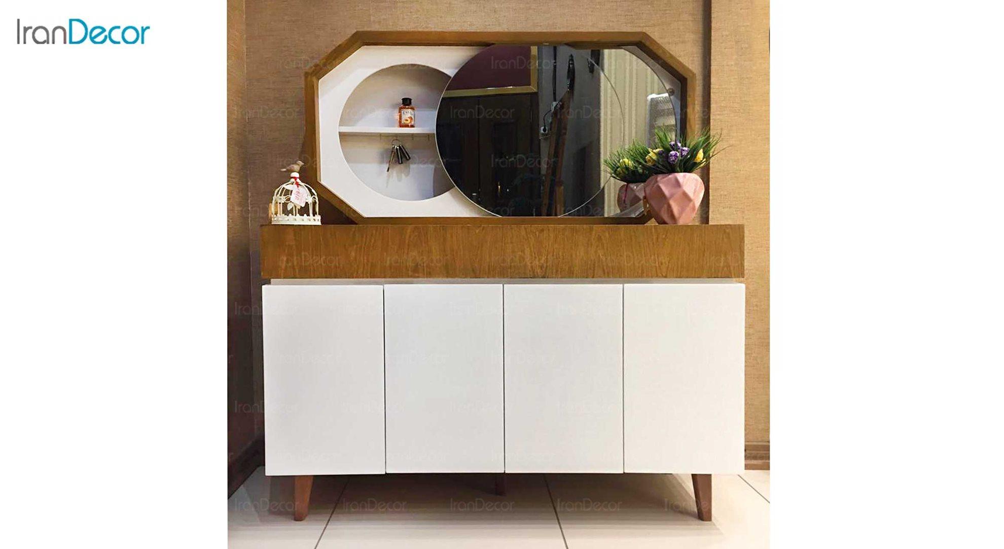 آینه کنسول چوبی آرون مدل هرمس