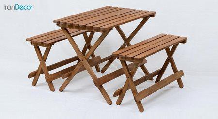 ست ناهار خوری تاشو چهار نفره چوبی آرون مدل بنچ
