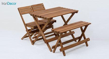 ست ناهار خوری تاشو چهار نفره چوبی آرون مدل ترکیبی