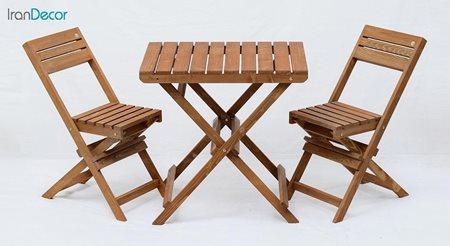 ست ناهار خوری تاشو دو نفره چوبی آرون مدل آکاژو