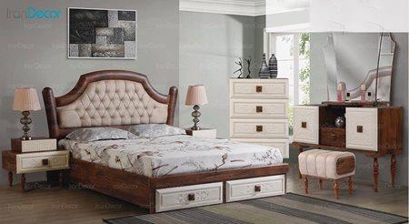 سرویس خواب دو نفره پارس چوب مدل فلور