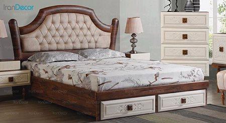تخت خواب دو نفره پارس چوب مدل فلور