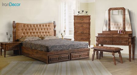 سرویس خواب دو نفره پارس چوب مدل نارسیس