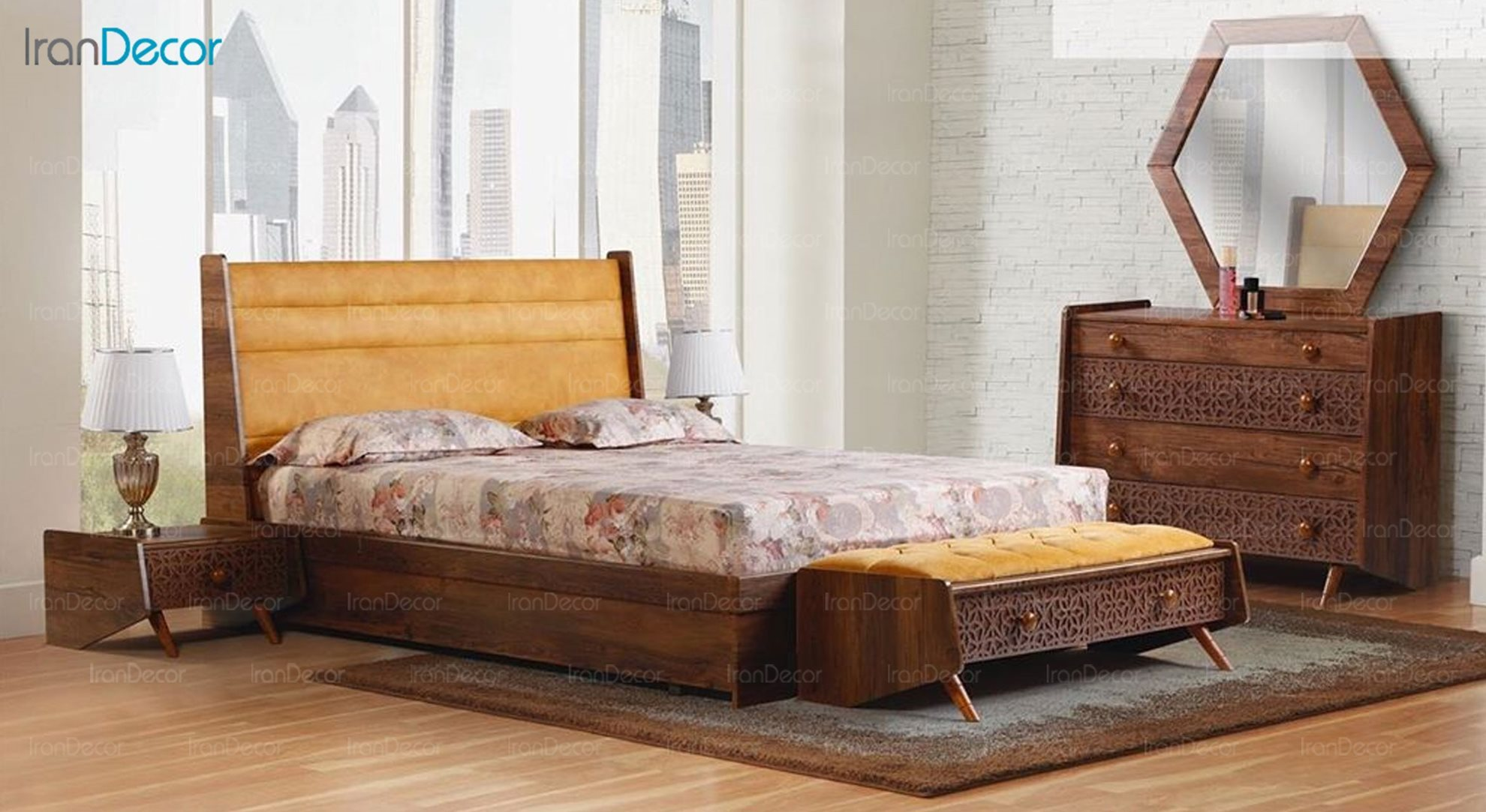 سرویس خواب دو نفره پارس چوب مدل آیلین