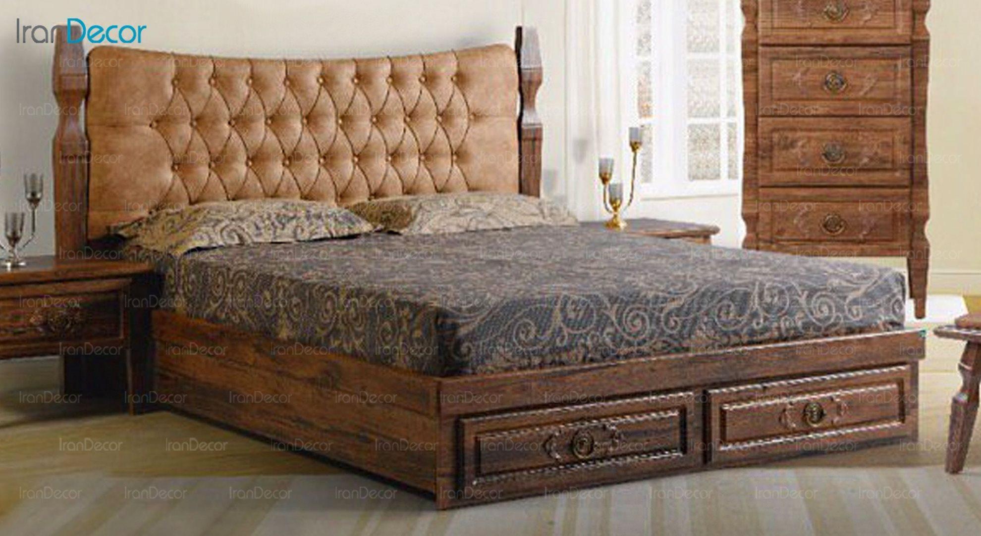تخت خواب دو نفره پارس چوب مدل نارسیس