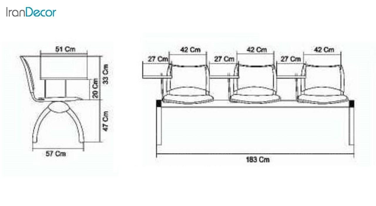 صندلی آموزشی سه نفره اسمارت مدل P823S از صنایع نظری
