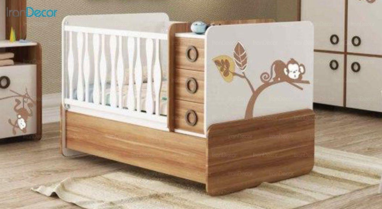 تخت خواب دو منظوره نوزاد و کودک فراز مدل F107
