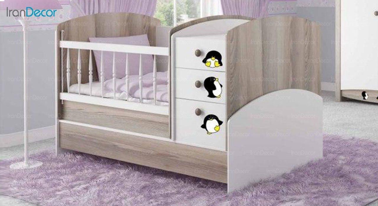 تخت خواب سه منظوره نوزاد و کودک فراز مدل F115