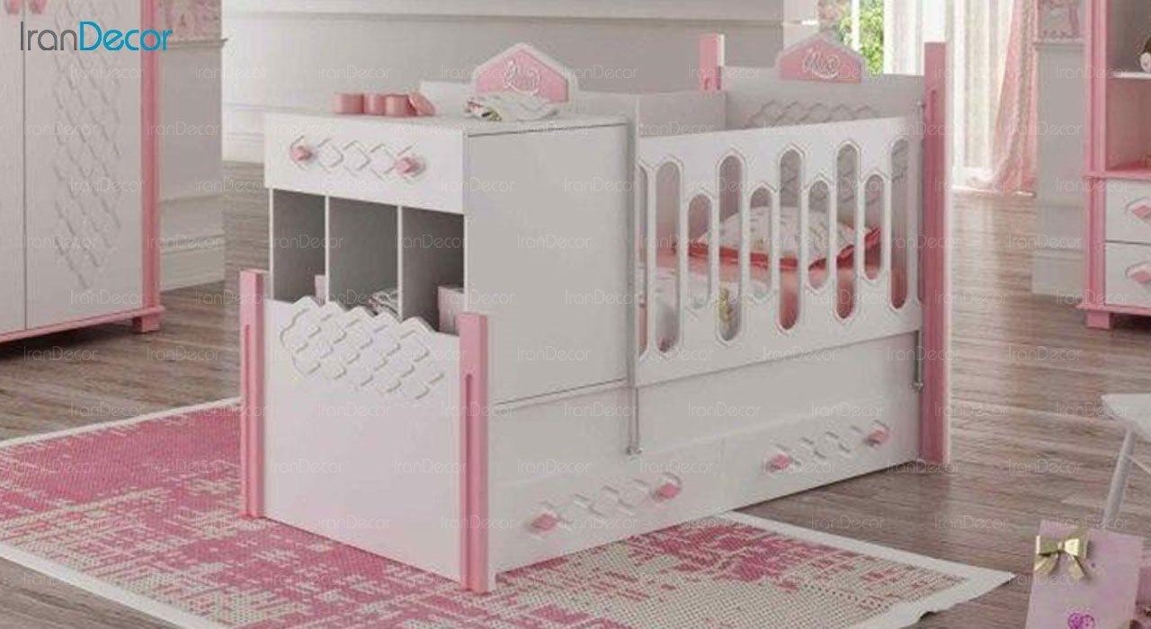 تخت خواب دو منظوره نوزاد و کودک فراز مدل F116