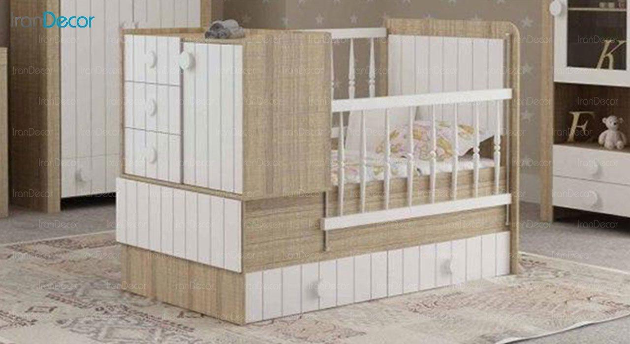 تخت خواب دو منظوره نوزاد و کودک فراز مدل F120