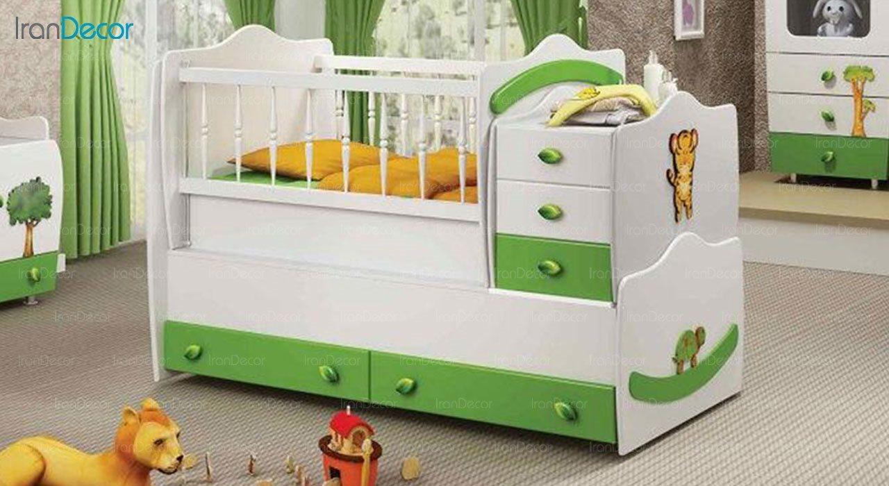 تخت خواب سه منظوره نوزاد و کودک فراز مدل F128