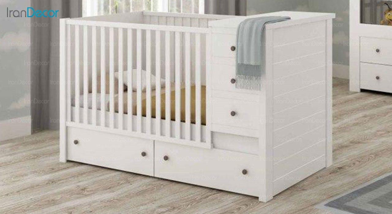 تخت خواب دو منظوره نوزاد و کودک فراز مدل F132