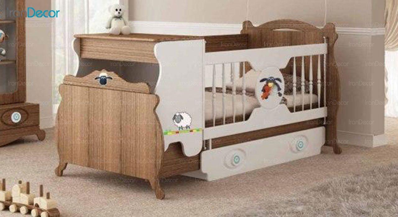 تخت خواب دو منظوره نوزاد و کودک فراز مدل F147