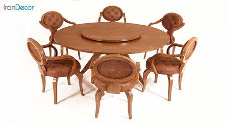 سرویس ناهار خوری شش نفره گرد نقشینه مدل سوان