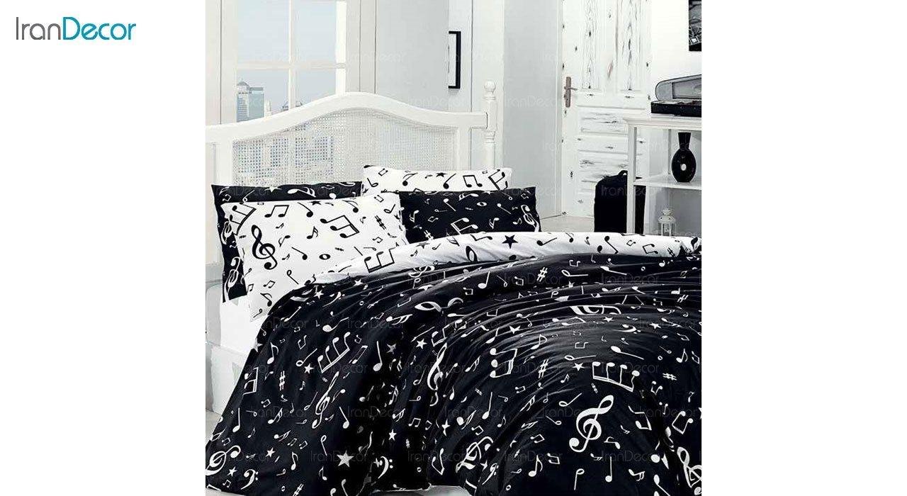 سرویس روتختی پرکیل سفید و مشکی رنگ لومانا مدل ماجر