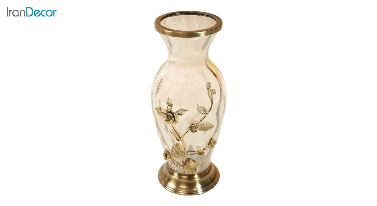 گلدان کریستالی گل برجسته آذین با پایه برنجی مدل G612