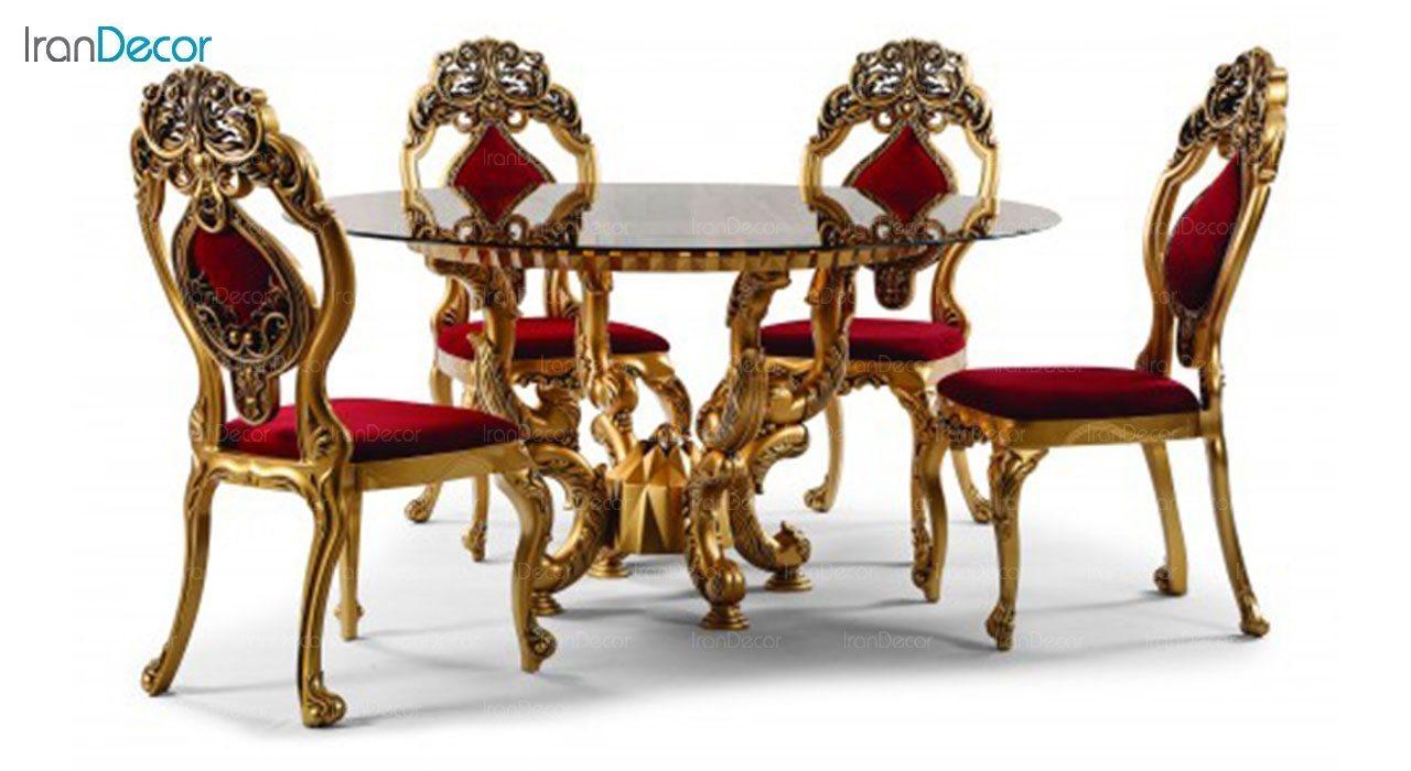 ست ناهار خوری گرد سلطنتی ماهان مدل دیاموند