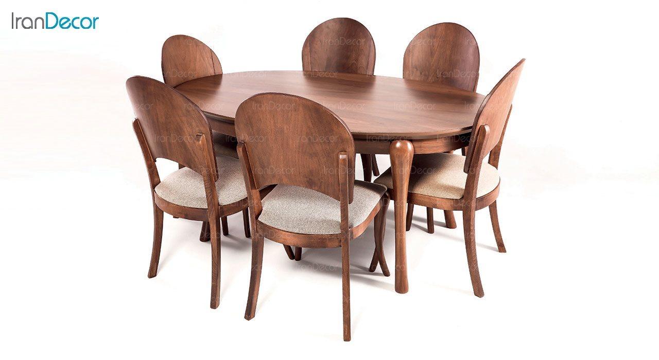 سرویس ناهار خوری بیضی چوبی الیپس مدل TG2