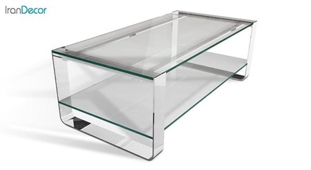 میز جلو مبلی دو طبقه زیمر مدل بریل با صفحه شیشه