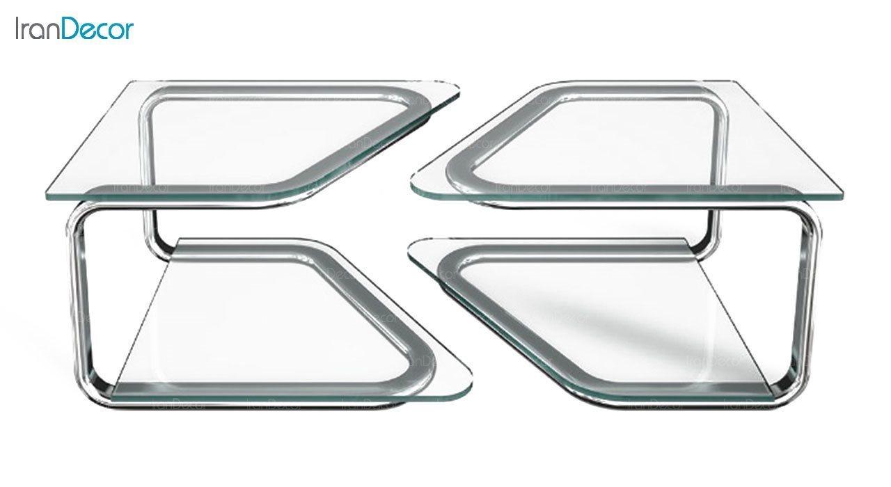 میز جلو مبلی زیمر مدل الماس با صفحه شیشه