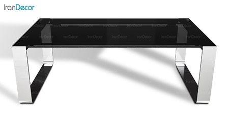 میز جلو مبلی یک طبقه زیمر مدل بریل با صفحه شیشه