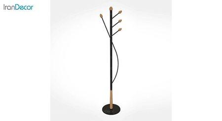 جالباسی ایستاده فلزی زیمر مدل بامبو طرح پایه چوبی