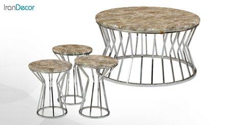 سرویس میز جلو مبلی و عسلی سه تکه طرح سنگ میشا مدل سوارز 051