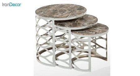 میز عسلی سه تکه گرد طرح سنگ میشا مدل دیاموند 040