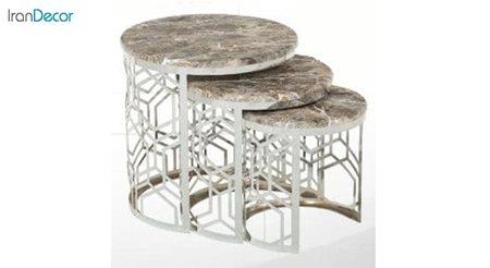 میز عسلی سه تکه گرد طرح سنگ میشا مدل مارینا 044