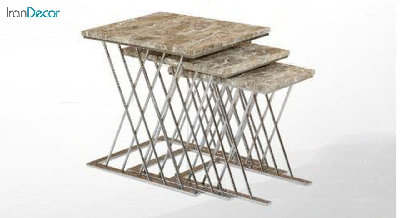 میز عسلی سه تکه گرد طرح سنگ میشا مدل میداس 043