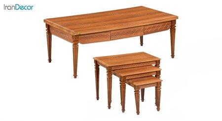 سرویس میز جلو مبلی و عسلی سه تکه میشا مدل آذین 048