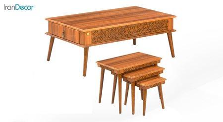 سرویس میز جلو مبلی و عسلی سه تکه میشا مدل سپیدار 049