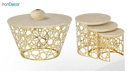 سرویس میز جلو مبلی مدل هندسی طلایی از میشا چوب