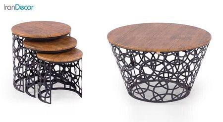 سرویس میز جلو مبلی مدل هندسی مشکی از میشا چوب