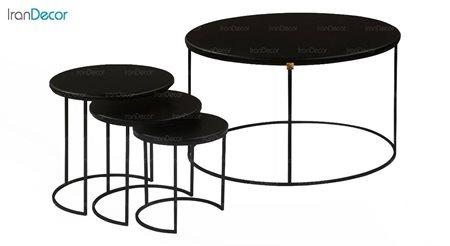 سرویس میز جلو مبلی و عسلی سه تکه طرح سنگ میشا مدل یونانی 052