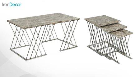 سرویس میز جلو مبلی و عسلی سه تکه طرح سنگ میشا مدل میداس 043