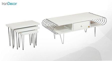سرویس میز جلو مبلی مدل میرا سفید کد 2 از میشا چوب
