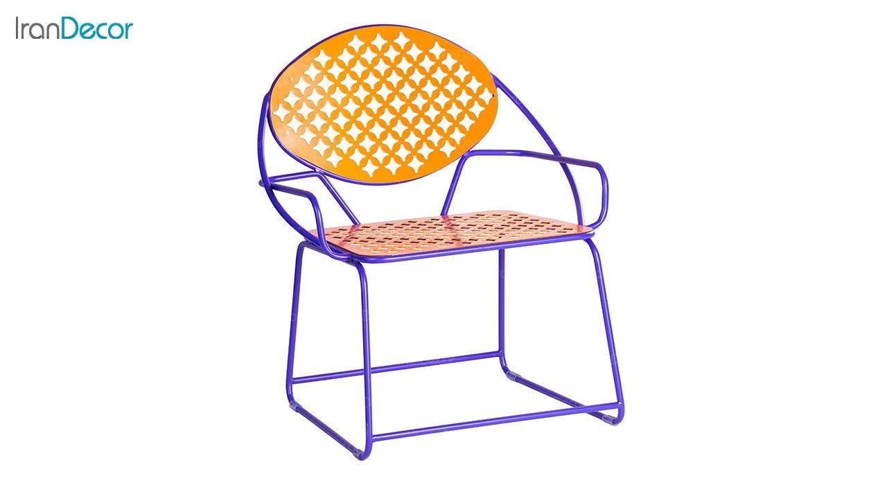 صندلی دسته دار فلزی دو رنگ نهال سان مدل پاندا