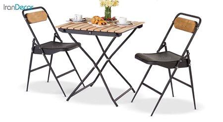 سرویس میز مربع و صندلی فلزی تاشو از نهال سان