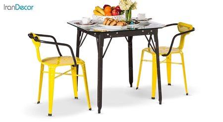 سرویس دونفره میز مربع و صندلی فلزی مدل بیتا از نهال سان