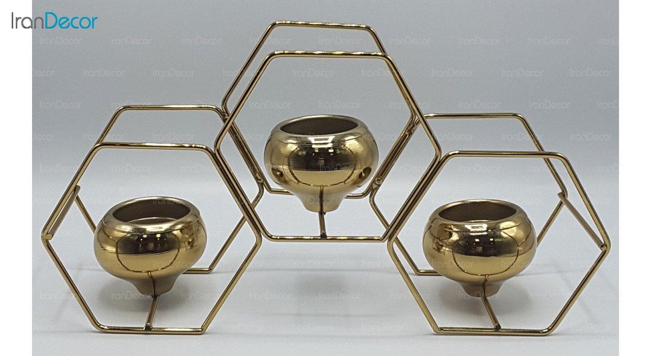 شمعدان سه شعله مدل شش ضلعی 100025