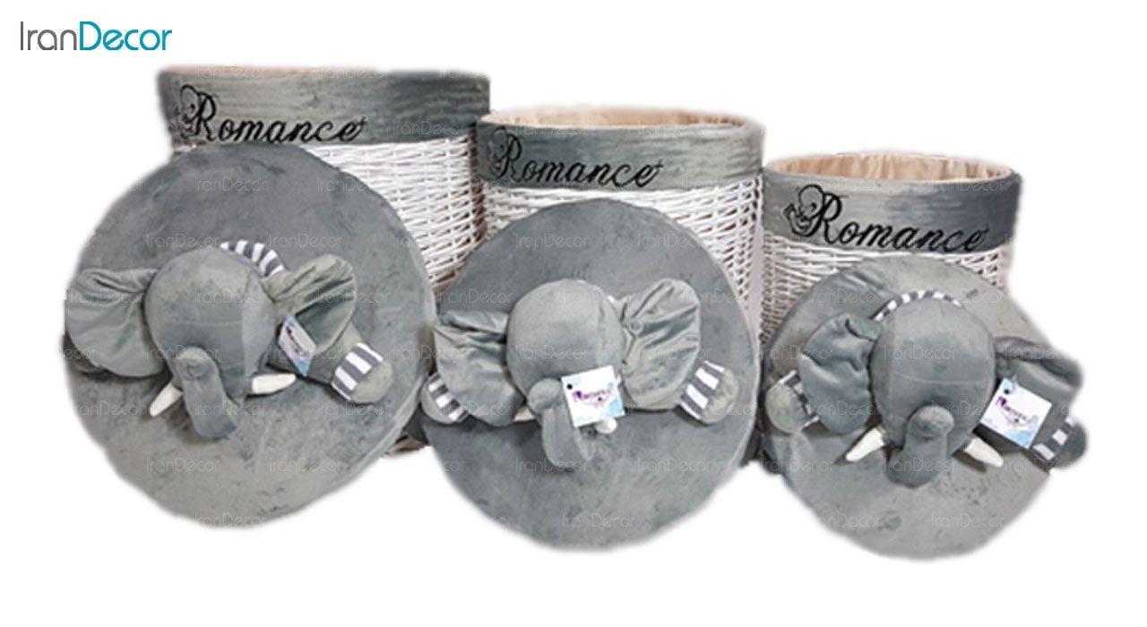 تصویر ست سبد عروسکی درب دار رومنس طرح فیل