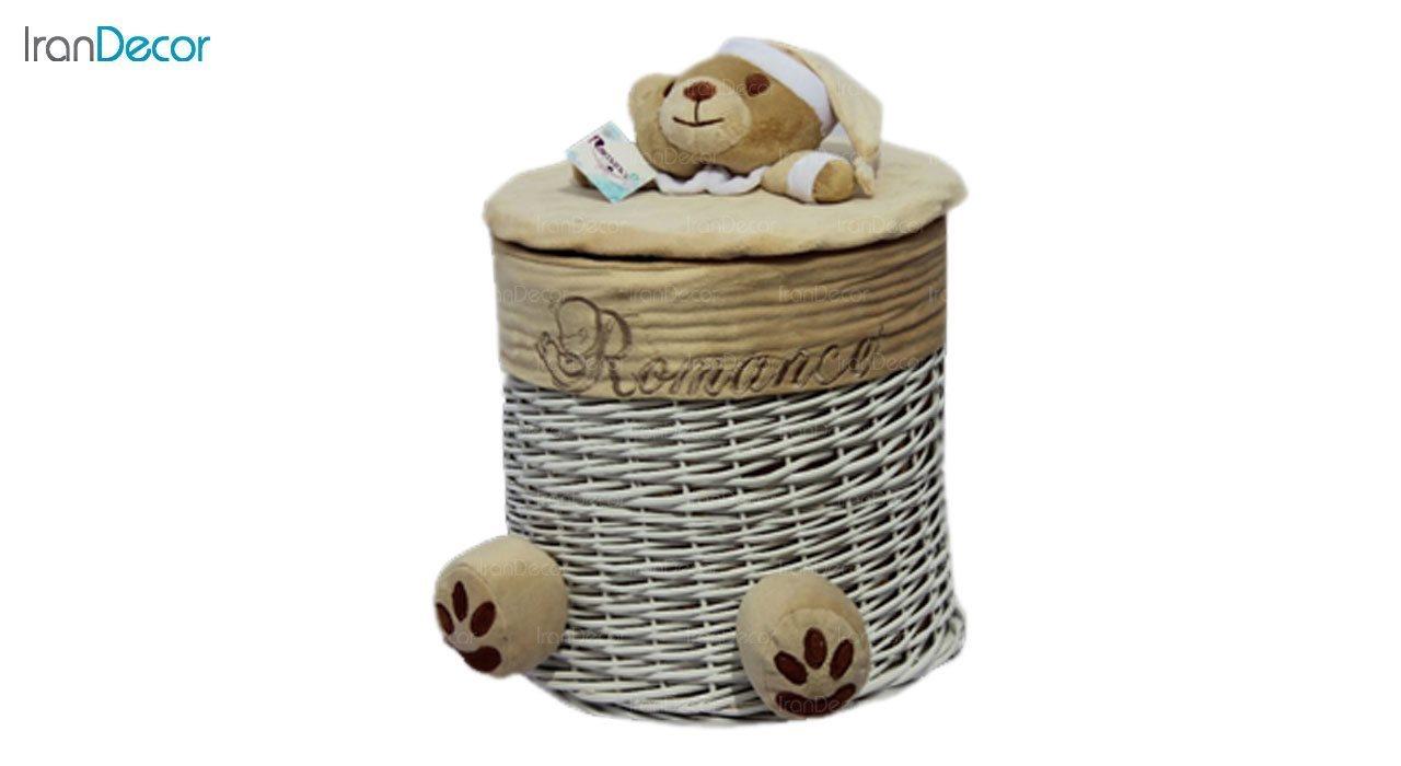 تصویر سبد عروسکی درب دار رومنس طرح خرس