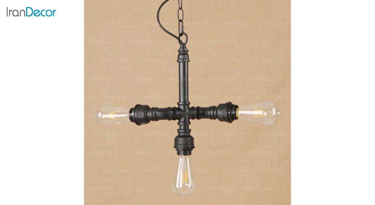 تصویر چراغ آویز مدرن 3 شعله آرتا مدل پایپ کد 380
