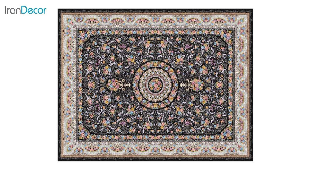 تصویر فرش ماشینی 1200 شانه کشمیر طرح گل افشان مشکی